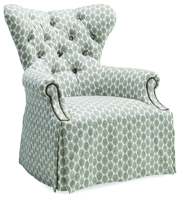 A.R.T. Ava Tufted Back Skirted Wing Chair, Grey