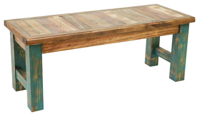 Rustic Reclaimed Wood Bench Farmhouse Accent And