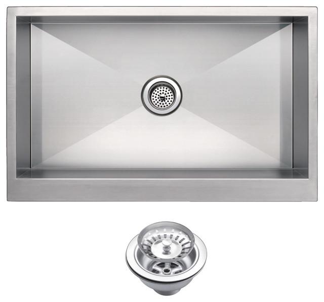 Zero Radius Single Bowl Apron Front Kitchen Sink With Drain And Strainer.