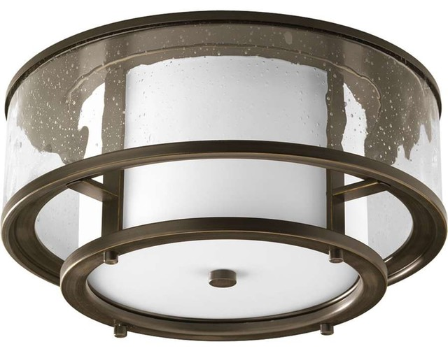 Bay Court Two Light Flush Mount Antique Bronze Clear Etched Opal Gl