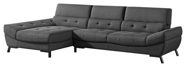 Modern Dark Gray Fabric Tufted Rider Sectional, Left