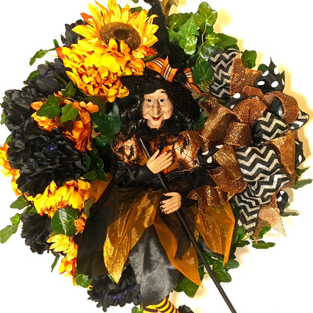212e526030 CUSTOM DESIGNED WITCH SILK FLORAL SUNFLOWER   BLACK PEONY WREATH!! I JUST  LOVE THIS