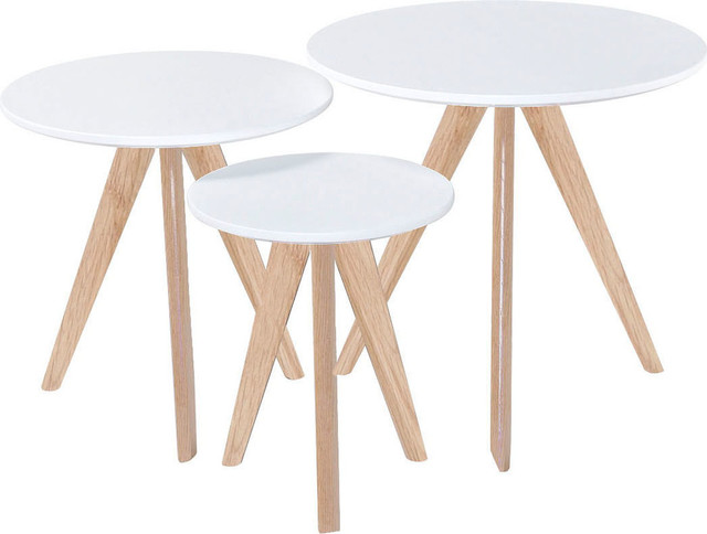 Sprout Nesting Tables, White Tops And Oak Legs, Set Of 3 Midcentury Coffee