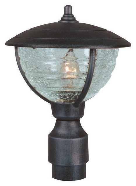 Medium Post Mount Light With Cracked Globe Glass, Black - Traditional - Outdoor Wall Lights And ...