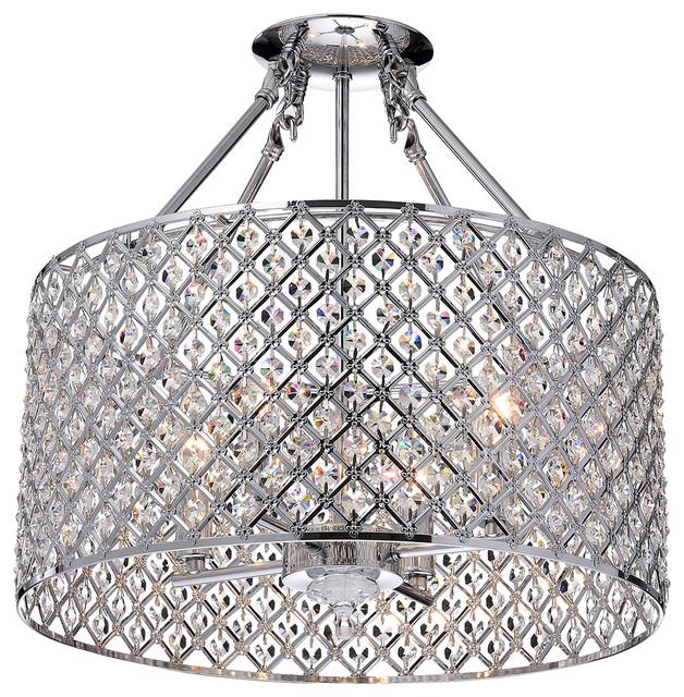 Marya 4 Light Chrome Beaded Drum Semi Flush Mount Chandelier Glam Lighting