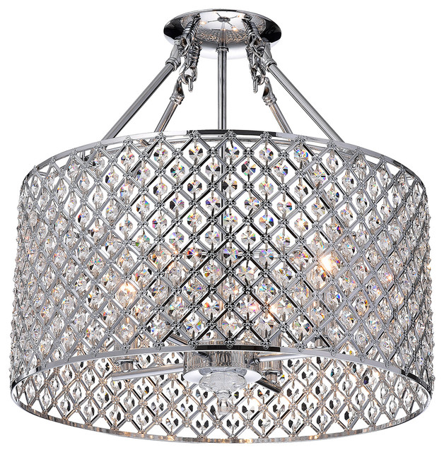 Marya 4 Light Chrome Beaded Drum Semi Flush Mount Chandelier Contemporary Ceiling Lighting By Edvivi