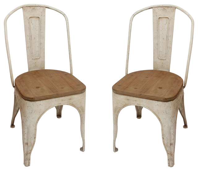 Metal Chairs with Vintage Wood Seat Set of 2 Farmhouse