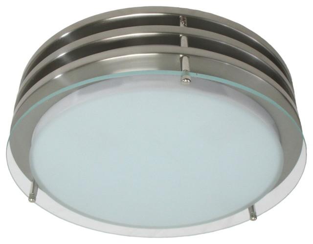 Bathroom Flush Ceiling Light Fixture Flush Mount Light: Fluorescent Ceiling Fixture, Stainless Steel