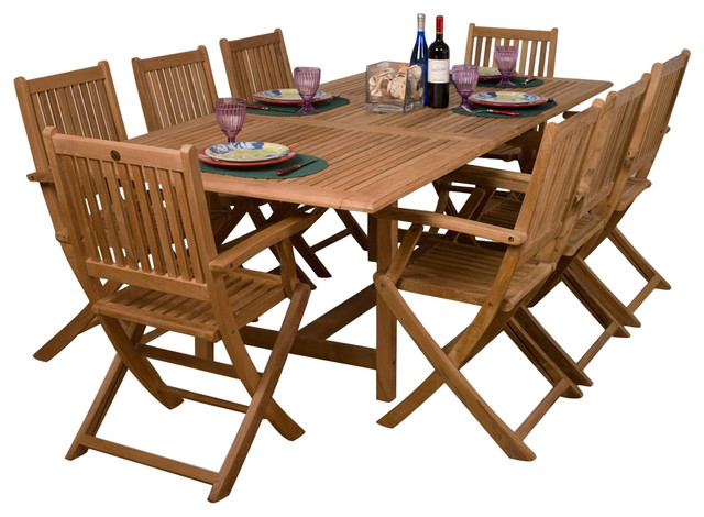 Redwood 9-Piece Outdoor Dining Set.