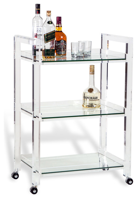 Pennington Modern Acrylic And Glass Serving Bar Cart