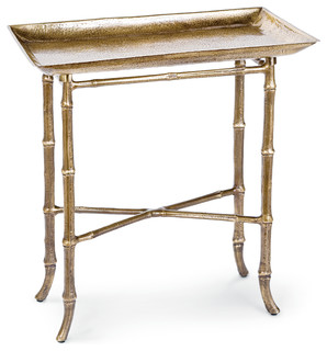Rectangle Bamboo Tray Table, Antiqued Brass