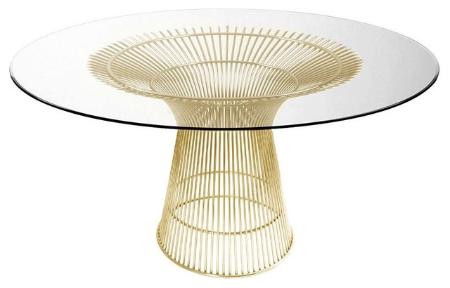 Charlize Glass Round Dining Table Wire Base Contemporary