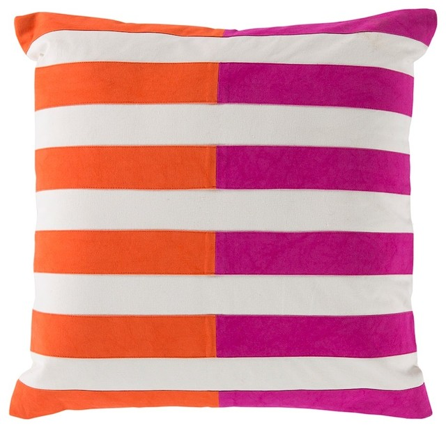 "Oxford By Surya Pillow, Pink/orange/cream, 18""x18"", Ar133-1818p."