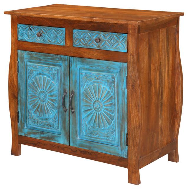 "Appalachian 35"" Mango Wood 2-Drawer Rustic Storage Cabinet."