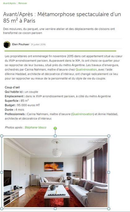 31 juillet 2016 -Avant/Après : Métamorphose spectaculaire d'un 85 m² à Paris