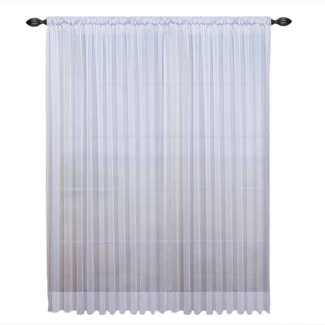 "Tergaline Double Wide Sheer Curtain Panel With Weighted Hem, White, 108""x96""."