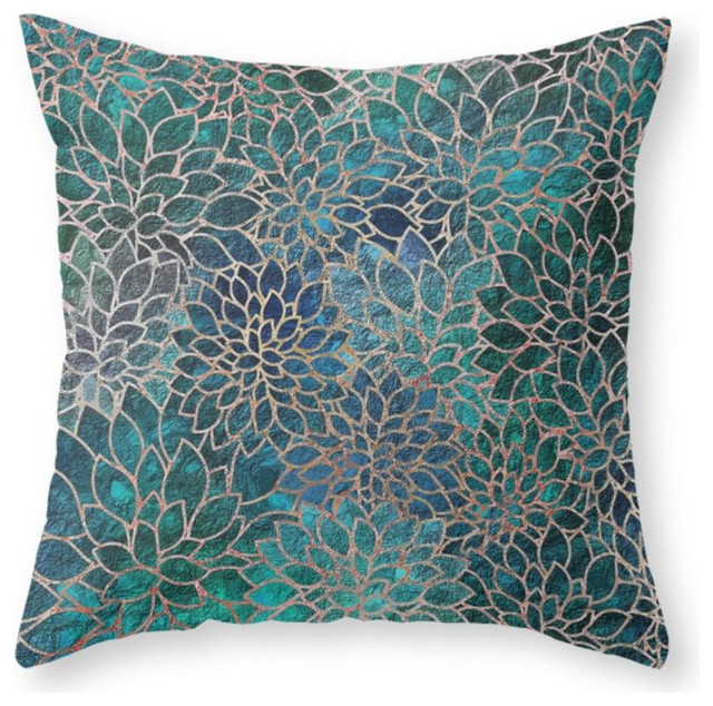 "Floral Abstract 4 Throw Pillow Cover, 20""x20"" With Pillow Insert"