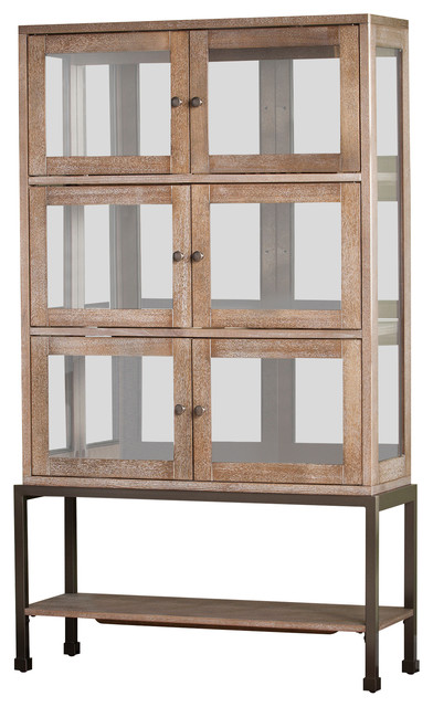 Ormand Lighted Contemporary Curio Farmhouse China Cabinets And Hutches By Sei