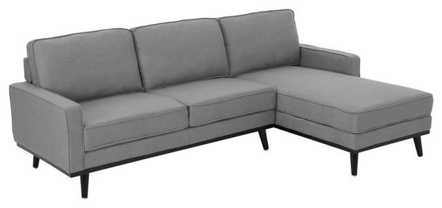 GDF Studio Dewey Mid Century Fabric Chaise Sectional Sofa, Gray/Dark Brown