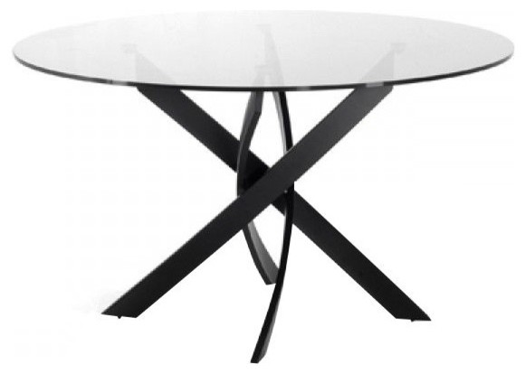 Modrest Pyrite Modern Smoked Glass & Black Round Dining Table.