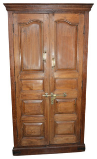 Consigned Antique Mogul Cabinet Rustic Teak Wood Armoire With Ample Storage - Traditional ...
