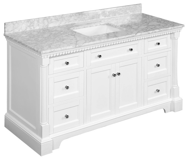 "Sydney Bath Vanity, White, 60"", Carrara Marble, Single Sink"