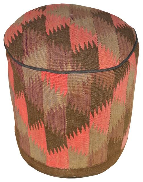 Crafters and Weavers - Rug Sitting Stool Ottoman Mace With Vintage Kilim Rug & Reviews Houzz