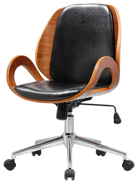 cleo office chair, black/walnut - modern - office chairs -new