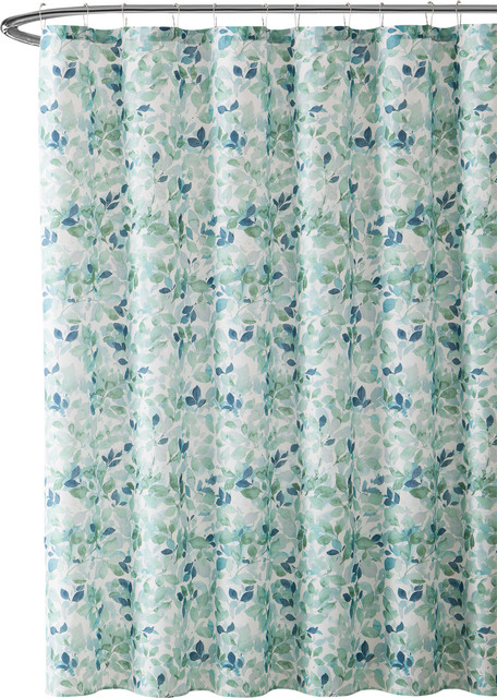 Lush Nature Bathroom Shower Curtain, Green And White Shower Curtain