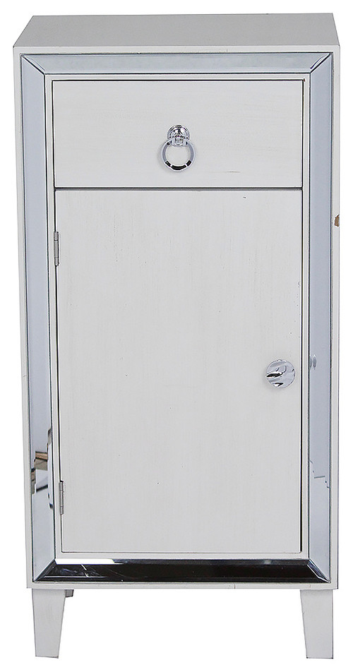 Tall Accent Mirrored Cabinet, Antique White
