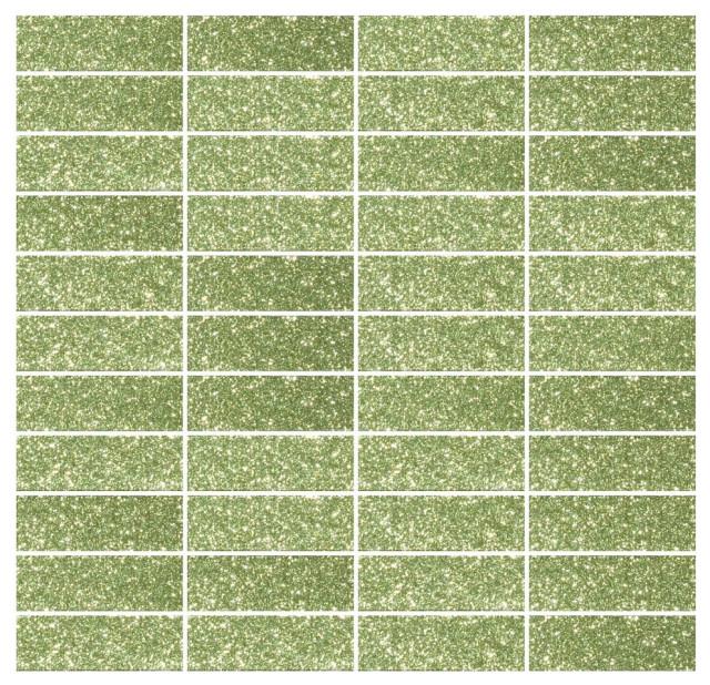 Susan Jablon Mosaics 1x3 Inch Light Lime Green Glass Subway Tile