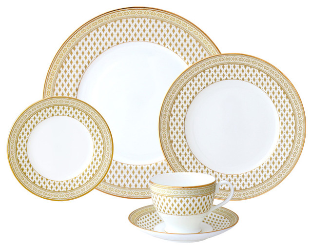 granada 5piece place setting gold - Dishware Sets