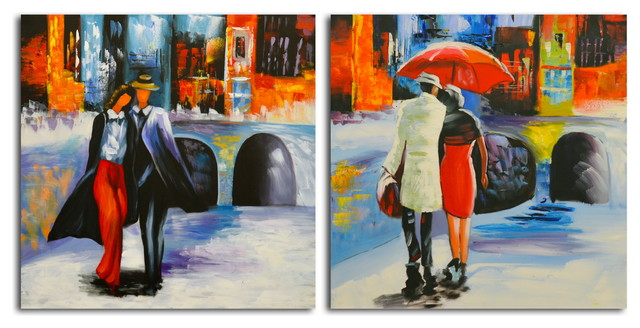"""""""coming And Going"""" Original Painting On Canvas, Set Of 2."""