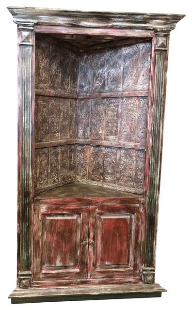 Consigned Antique Handcrafted Huge Corner Cabinet Sideboard Vintage Bookcase