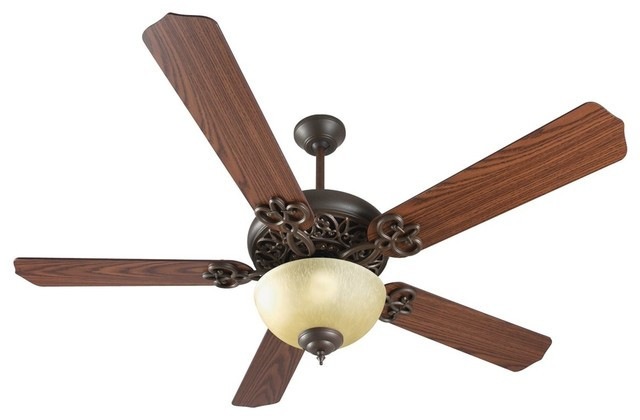 "Craftmade 52"" Cecilia Unipack Ceiling Fan Kit, Aged Bronze Textured, Dark Oak."