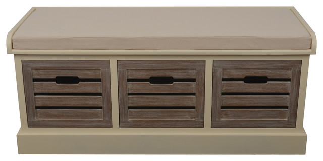 Melody Three Drawer Bench With Cushion, White Melody  Transitional Accent And Storage