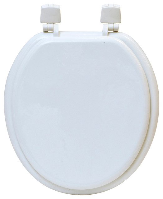 Round Molded Wood Toilet Seat Solid Color Contemporary