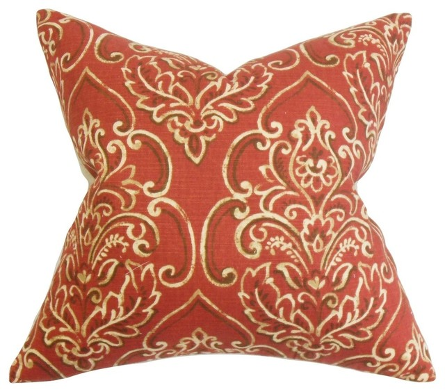 The Pillow Collection Inc. Yonah Floral Pillow Red - Decorative Pillows Houzz