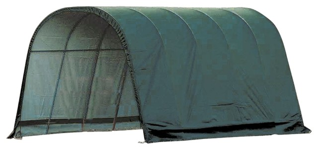 12&x27;x20&x27;x10&x27; Round Style Run-In Shelter, Green Cover.