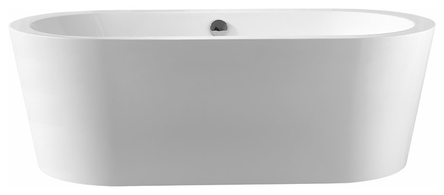 "FSB-010 59"" Luxury Contemporary Freestanding Soaking Bathtub Spa White Acrylic"