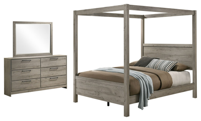Bunbury 3 Piece Canopy Bedroom Set, Light Gray, Queen