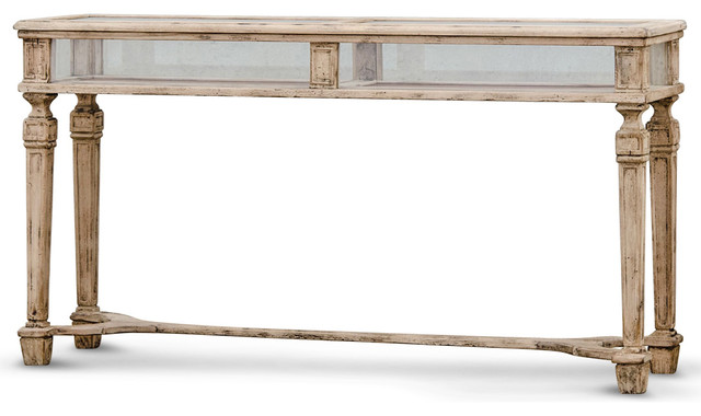 Calliope French Country Watchmakers Stand Glass Display Console Table  Traditional Console Tables