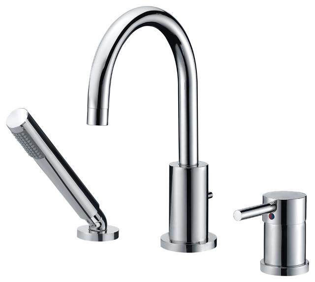 Single Handle Deck Mount Roman Tub Faucet Handshower Contemporary