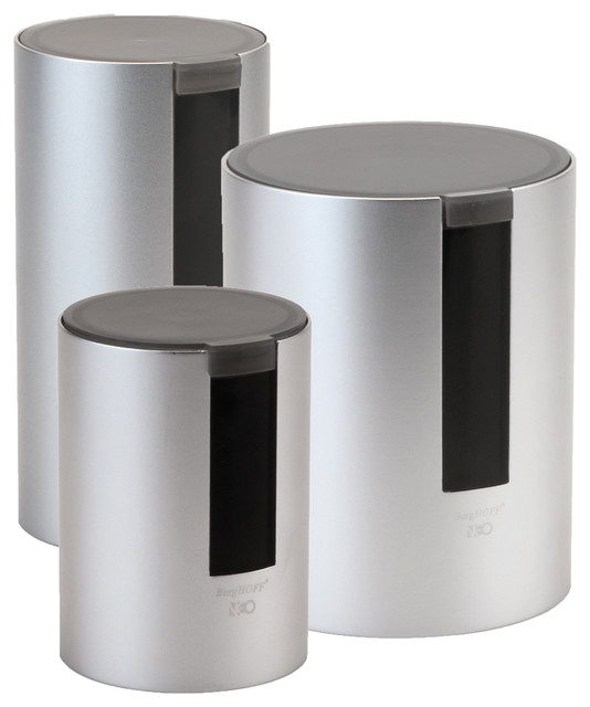 Neo 3 Piece Canister Set Contemporary Kitchen Canisters And