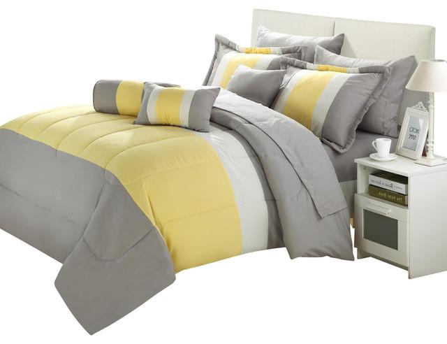 Chic Home Serenity Yellow & Grey King 10