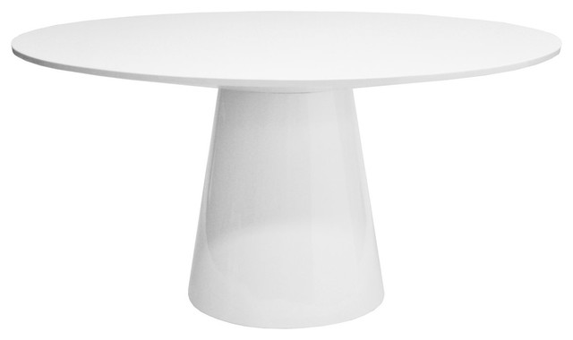 Round White Lacquer Dining Table