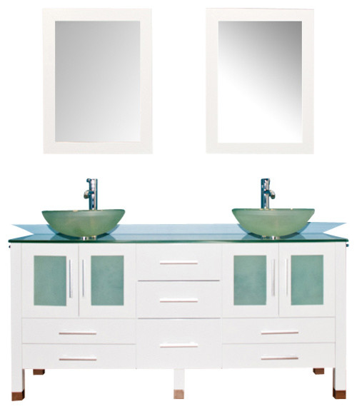 Cambridge 71 Solid Wood And Frosted Glass Double Vessel Sink Vanity Set.