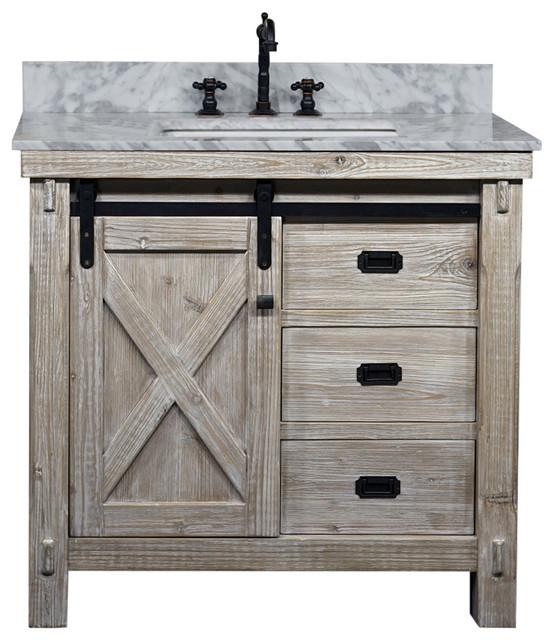 37 Rustic Solid Fir Barn Door Style Single Sink Vanity Arctic Pearl Marble Top Farmhouse Bathroom Vanities And Sink Consoles By Infurniture Inc Houzz