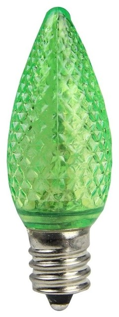 Faceted Transparent Led C7 Christmas Replacement Bulbs, Set Of 4, Green.