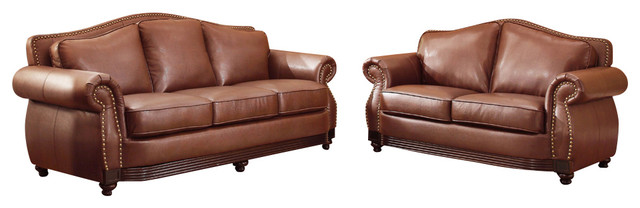 Homelegance Midwood 2-Piece Living Room Set In Dark Brown Leather.
